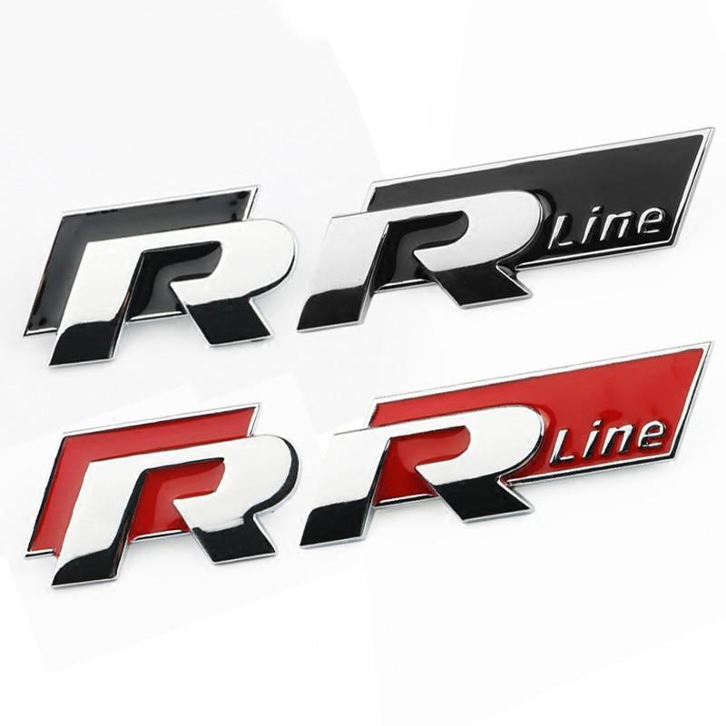 R-LINE R Car Styling Car Front Grill  Body Decoration3D Metal Sticker Emblem Accessories For VW Polo Golf 5 7 Passat B5 B6