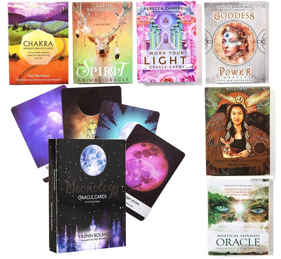 Moonology оракулы игральной карты мудрость сообщения вашему богиня, ангел Мощность работой сохраняет светильник духа животного предков в свети...