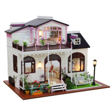 jkale MINI DIY House with furniture Toy for children adult miniature doll house building model Kits toys