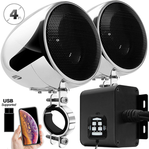 Image 1 - Aileap 150W Conjunto com 2ch Stereo Amplificador de Áudio Da Motocicleta, 4 Polegadas Falante À Prova D Água, Entrada USB, bluetooth, Rádio FM, AUX MP3