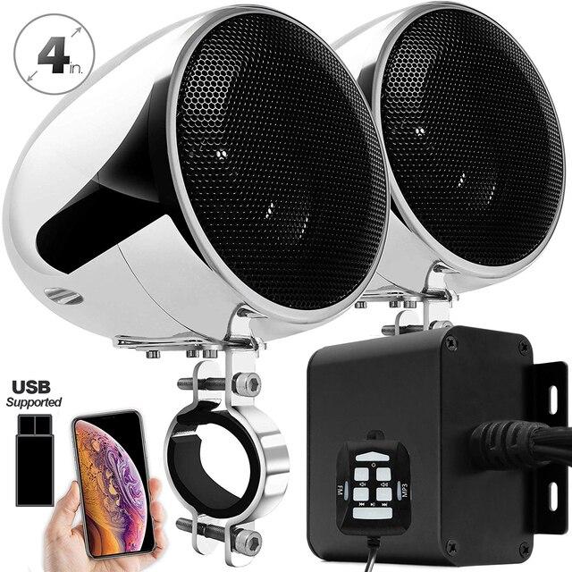 Aileap 150W Conjunto com 2ch Stereo Amplificador de Áudio Da Motocicleta, 4 Polegadas Falante À Prova D Água, Entrada USB, bluetooth, Rádio FM, AUX MP3