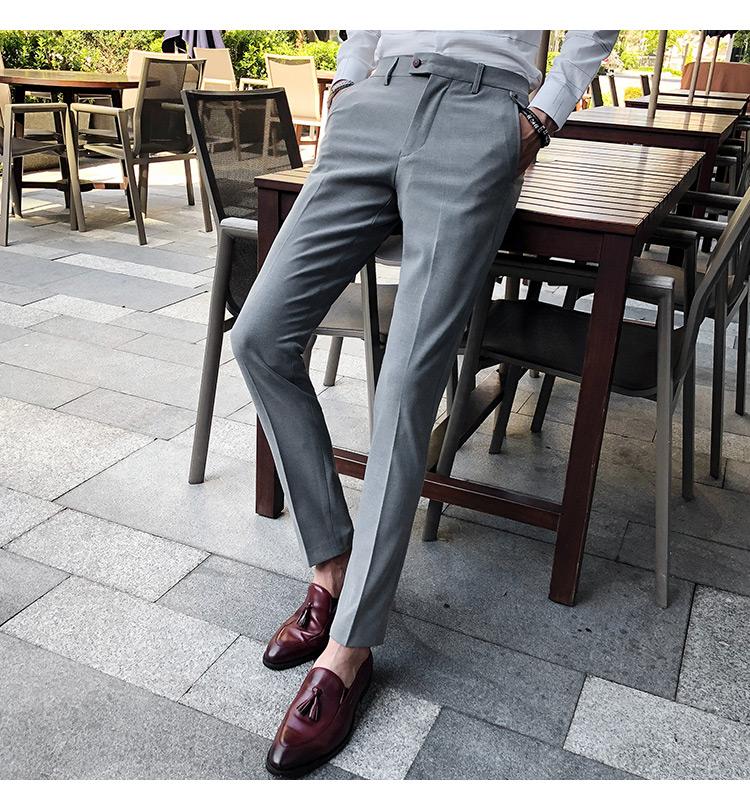 Men's Retro Fashion Business Casual Solid Micro-Elastic Trousers