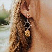 Luokey Bohemia Shiny Sun Hoop Earring With Rhinestone Vintage Round Circle Totem Statement Earrings Hoops Jewelry Wholesale 2020