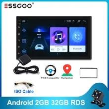 Essgoo 안드로이드 Autoradio RDS 2 기가 바이트 + 32 기가 바이트 1 기가 바이트 + 16 기가 바이트 자동차 라디오 Gps 네비게이션 범용 자동 라디오 와이파이 2Din 중앙 Multimidia 플레이어