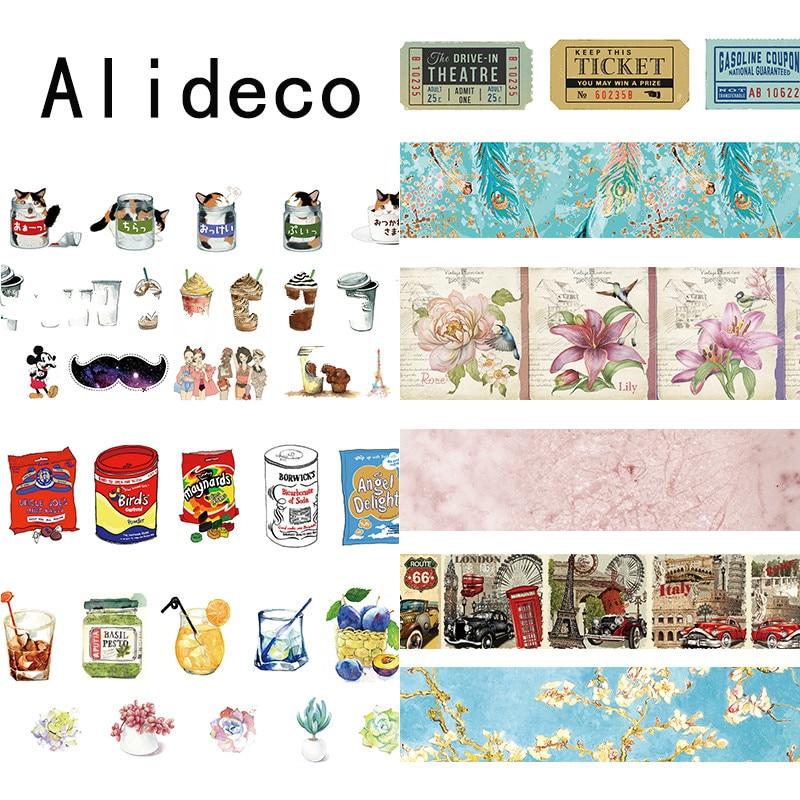 Alideco 1 Pcs Washi Masking Tapes Retro Coffee Flower Decorative Adhesive Scrapbooking DIY Paper Japanese Stickers  1.5cm*10m