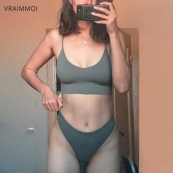 Seamless Women Top Panties Set Cotton Tops Low Waist G-String Underwear Set Soft Active Wear Lingerie Fitness Crop Top