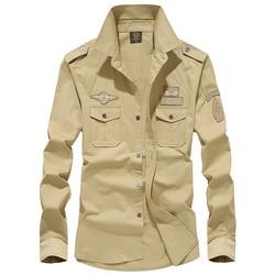 Man Solid Shirt Met Borduurwerk 7XL Lente Herfst Katoen Militaire Piloot Luchtmacht Shirt Mannen Lange Mouw Ademend Casual Shirt
