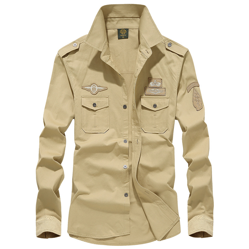 Man Solid Shirt With Embroidery 7XL Spring Autumn Cotton Military Pilot Air Force Shirt Men Long Sleeve Breathable Casual Shirt