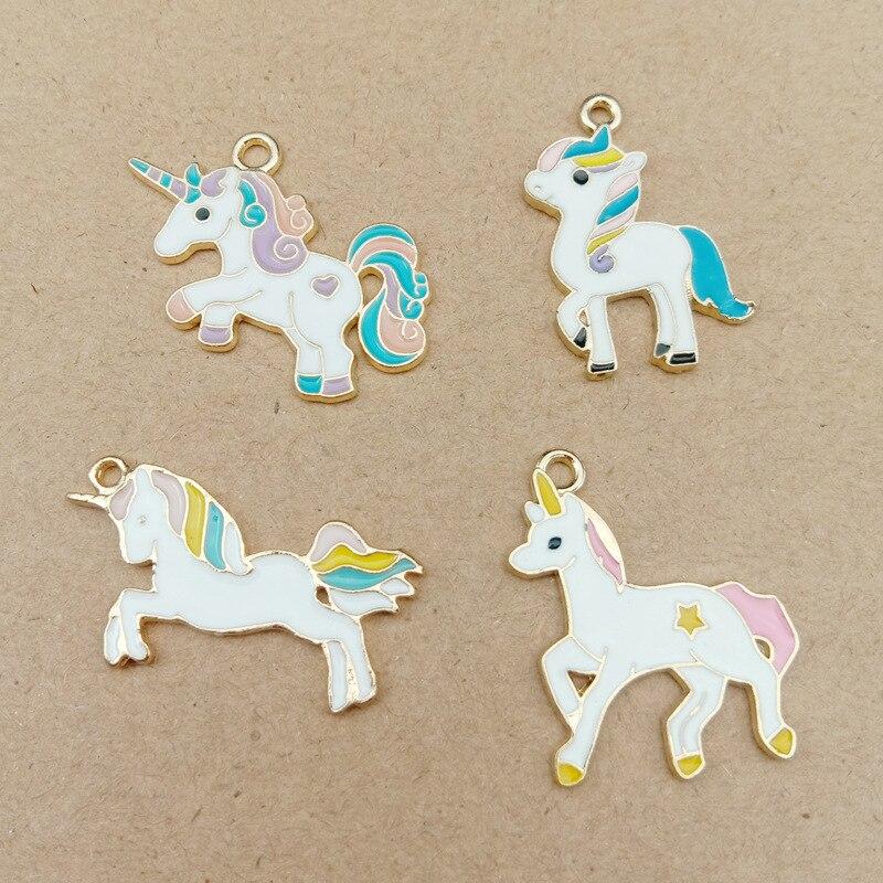 5 pièces drôle émail licorne cheval breloques mignon huile animaux pendentif bricolage résultats femmes boucle doreille fabrication de bijoux à la main P118
