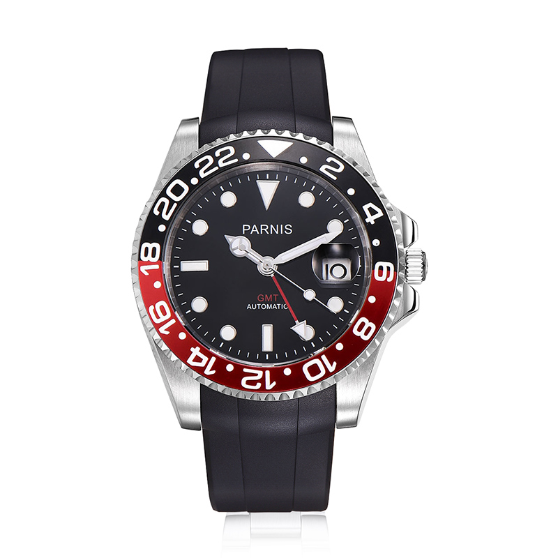 Casual 40mm Parnis Automatic Men's Watches Black Red Bezel Rubber Strap GMT Calendar Diver Men Mechanical Watch de luxe horloges
