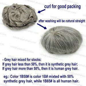 Image 5 - Hstonir branco humano remy peruca de cabelo laço suíço leve onda densidade cabelo dos homens sistema h074