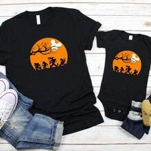 Вечерние футболки на Хэллоуин с принтом «Мама и я» одинаковые