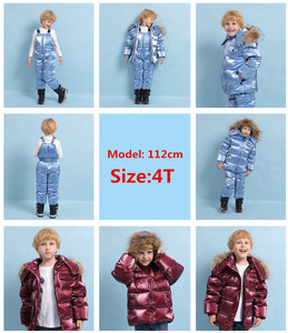 Image 2 -  30℃ orangemom Russia winter jacket for girls boys coats & outerwear , warm duck down kids boy clothes shiny parka ski snowsuit