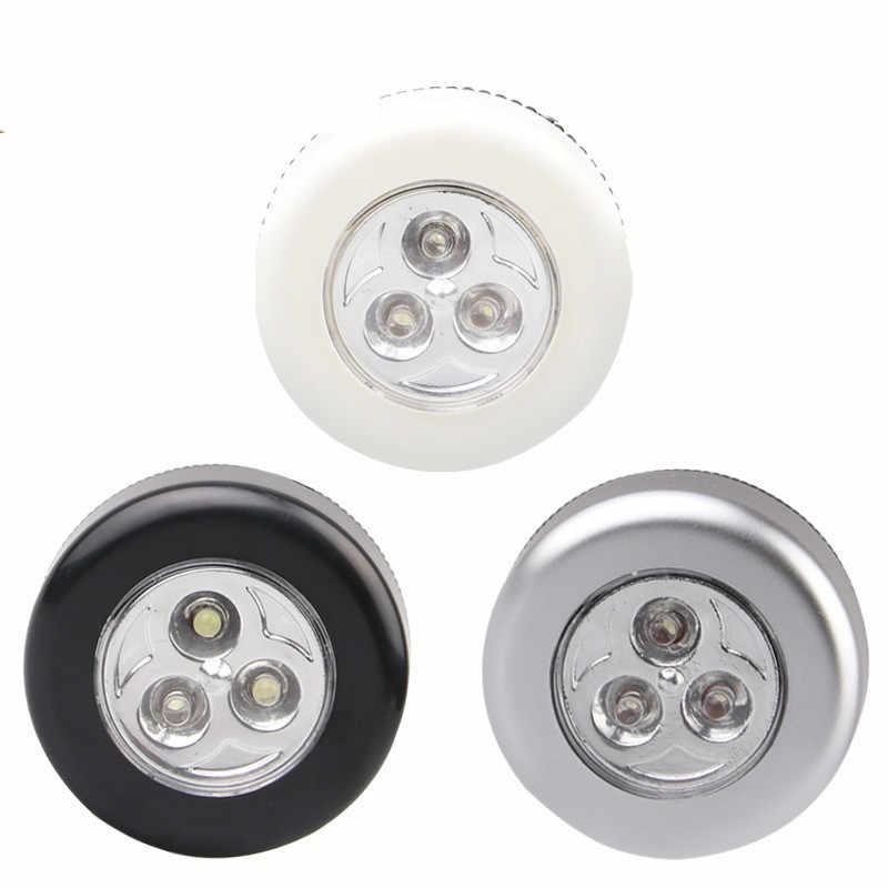 3 led armário sob a lâmpada do armário aaa alimentado por bateria sem fio interruptor de toque parede da cozinha luz da noite carro para inicialização do carro ao ar livre ferramenta