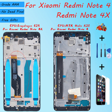 For XIAOMI Redmi Note 4X Redmi Note 4 Original LCD screen assembly With front case Black White  repair tool and Tempered film