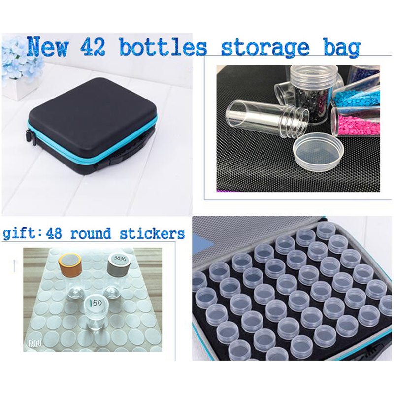 42 bottles diamond painting tool storage Box zipper design shockproof and durable Diamond Embroidery Cross Stitch Accessories