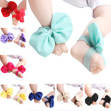 1pair Newborn Shoes Infant Bow Chiffon Barefoot Baby Shoes Toddler Foot Feet Beach Baby Schoenen Melissa Пинетки Zapatos Bebe(China)