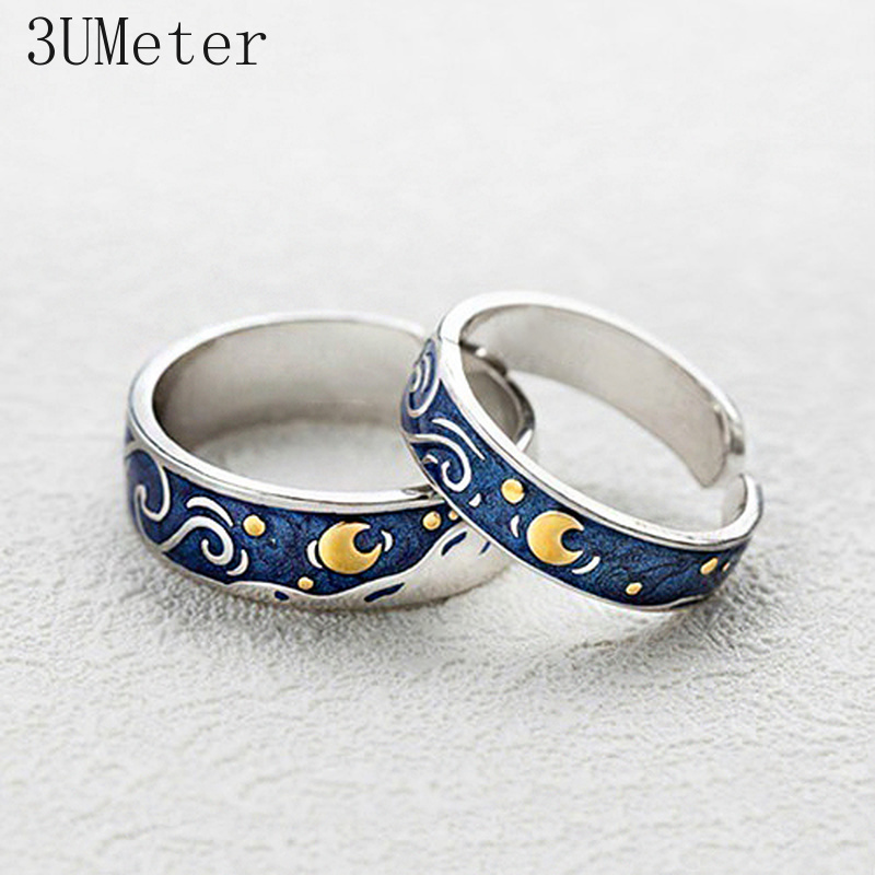 Hot Fashion Rings Van Gogh Starry Sky Plated S925 Silver Open Lover Ring For Women Valentine's Gift Wedding Jewelry Bohos