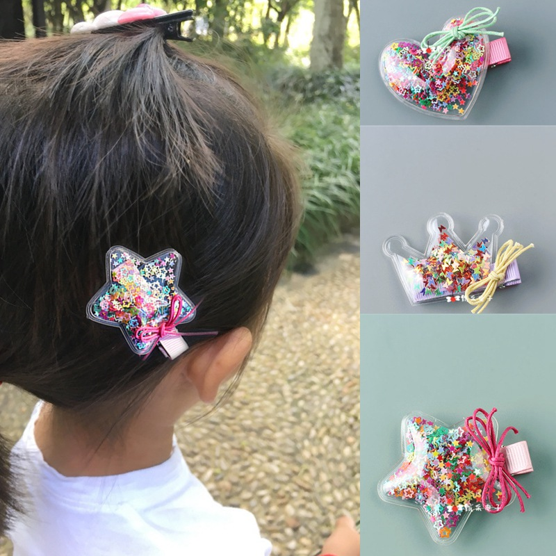 Fashion Children Hairpins Baby Girls Glitter Star Crown Hair Clips Lovely BB Clip Bow Barrettes Side Kids Hair Clips accessories