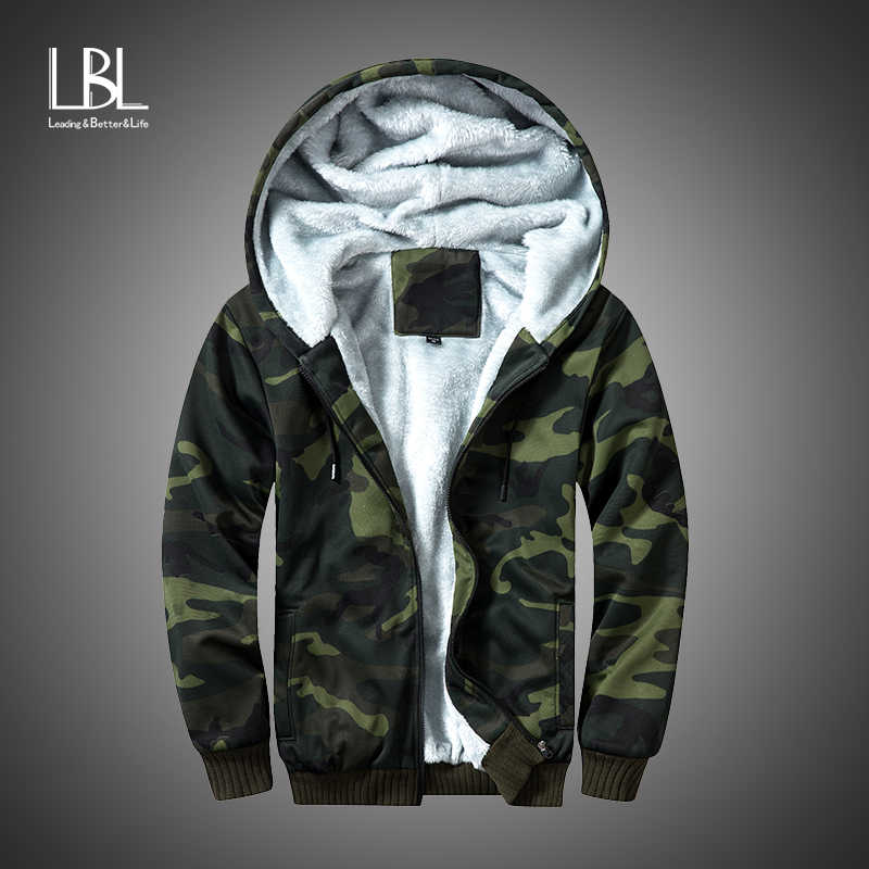 Winter Fleece Hoodies Mannen Rits Camouflage Kapmantel Merk Heren Trainingspak Sweatshirt Bomber Jassen Warm Us/Eur Size Hoody
