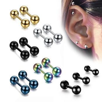 1Pair Medical Titanium Steel Stud Earring Small Ball Screws Small Earrings Male Ear Bone Nail Lip Piercing Body Jewelry