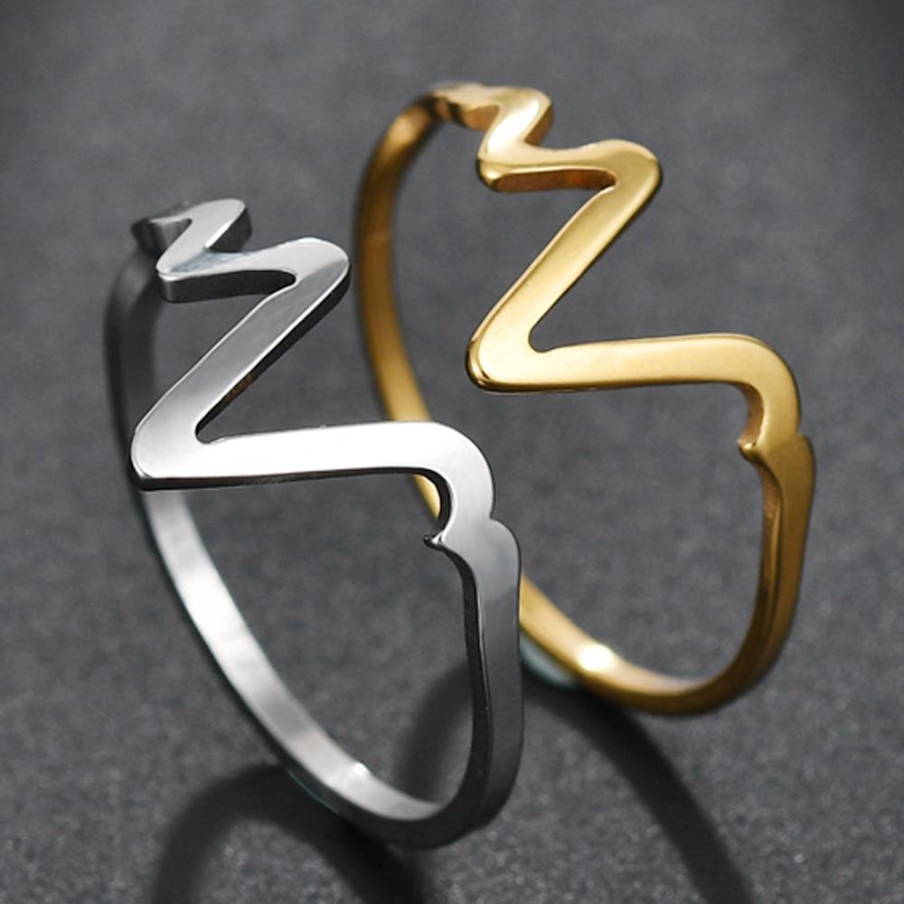 Trendy Rose Gold Žene od nehrđajućeg čelika, vjenčani prstenovi - Modni nakit - Foto 6