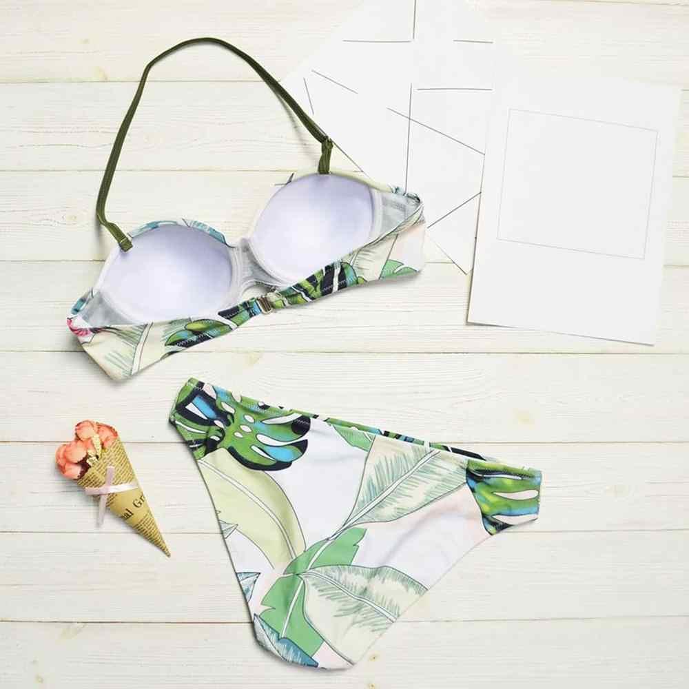Новый Модный летний женский комплект бикини, сексуальные листья для веревочного купальника, пуш-ап, для девушек, с высокой талией, с принтом, без косточек, купальник, костюм 50 **
