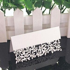 Image 5 - 50 Uds. De tarjetas de encaje blanco para decoración de boda, mesa de decoración, nombre, Mensaje, tarjeta de felicitación, suministros para fiesta de Baby Shower