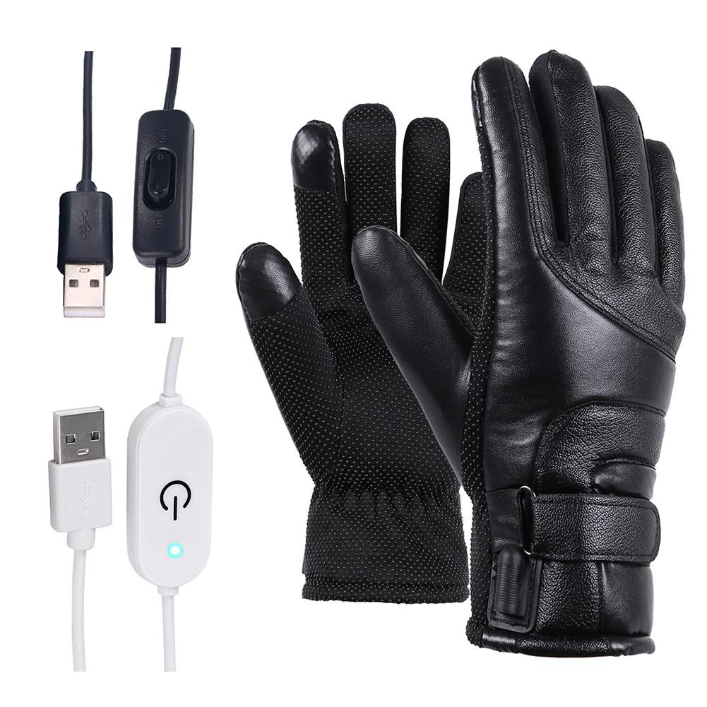 Winter Motorcycle Electric Heated Gloves Windproof Cycling Warm Heating Touch Screen Skiing Gloves USB Powered For Men Women
