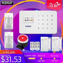Kerui g18 sistema de alarme sem fio gsm, sistema de vigilância residencial, ios, android, app, controle remoto, sms, chamada de empurrar, alarme