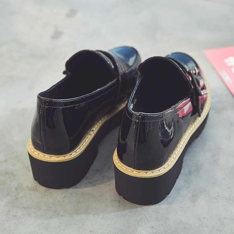 PUPUDA chunky turnschuhe frauen casual leder schuhe mode-trend klassische korean dicken boden slip-ons loafers frauen im freien
