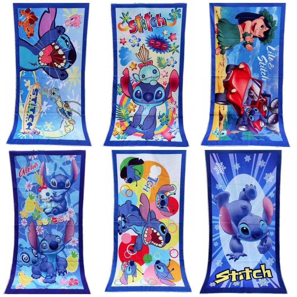 Disney Cartoon 100% Polyester Floral Lilio and Stitch Microfiber Home Bath Beach Towel Swimming Towel 70X140cm