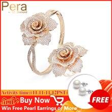 بيرا جودة عالية AAA مكعب زركونيا ميركو تمهيد تألق زهرة كبيرة شكل أساور وخواتم مجموعات مجوهرات لمحبي هدية Z017