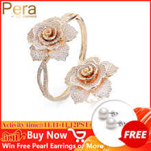Pera High Quality AAA+ Cubic Zirconia Mirco Pave Sparkling Big Flower Shape Bangles And Rings Jewelry Sets For Lover Gift Z017