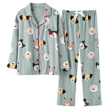 New cartoon Pajama womens spring and autumn cotton long sleeve home clothes all winter Korean large size set