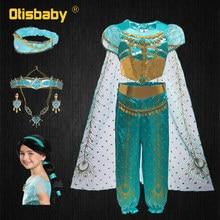 Girls Jasmine Costume Princess Dress Up Child Clothes Kids Performance Masquerade Costumes Arabian Traditional Clothing