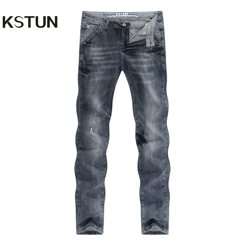 Ripped Jeans For Men Gray Stretch Streetwear Slim Fitness Ultrathin Breathable Casaul Denim Pants Hip Hop Male Biker Jeans 2020