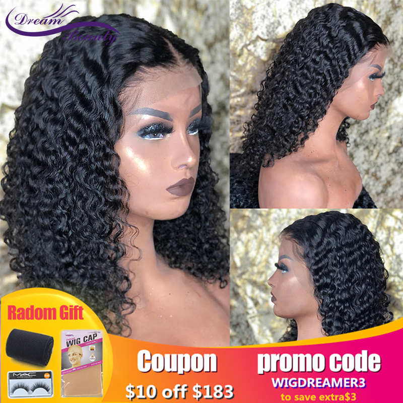 Jerry Curly 13x6 Lace Front Human Hair Wigs With Baby Hair Brazilian Remy Hair Short Curly Bob Wigs Pre-Plucked Wig Dream Beauty
