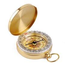 Портативный карманный компас из чистой меди со светящимися часами
