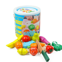Cutting Food Wooden Play Set Toy Pretend with Knife Fruit Vegetable Fish and Board 13 PCS