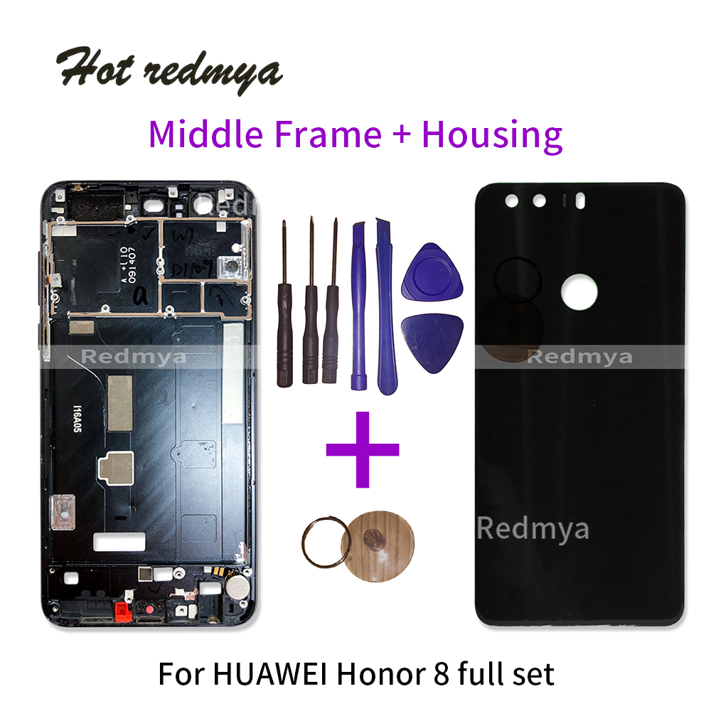 Full Housing For Huawei Honor 8 Back Glass Battery Cover +Front Bezel Middle Frame Plate Chassis Replacement Parts With Tools