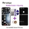 Pieno Custodia Per Huawei Honor 8 di Vetro Posteriore Della Batteria Cover + Anteriore Lunetta Plate Frame Medio Telaio Con Parti di Ricambio strumenti