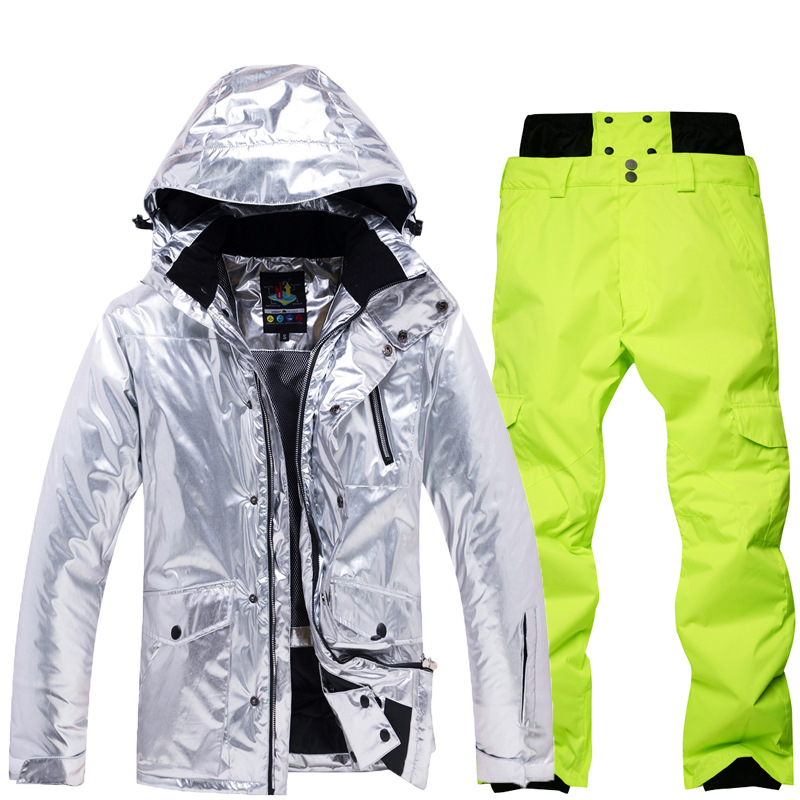 Shining Silver Mens Womens Ski Suit Winter Thermal Waterproof Windproof Snowboarding Jacket Pants Skiing Wear Female Snow Suits