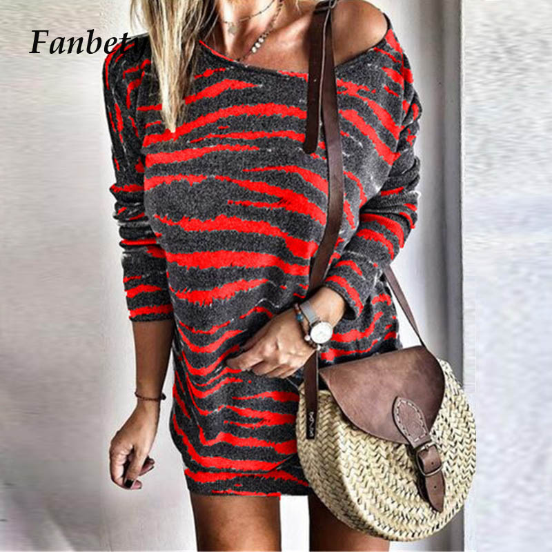 Fanbety Women <font><b>Autumn</b></font> <font><b>sexy</b></font> one off shoulder dress Elegant winter casual o neck strip print mini dress Lady fashion streetwear <font><b>5XL</b></font> image