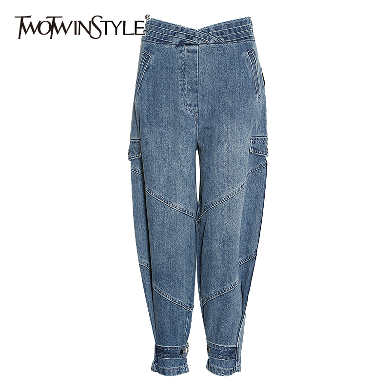 TWOTWINSTYLE Vintage Denim Women Harem Pant High Waist Loose Casual Ruched Ankle-length Pants Female Fashion Clothing 2020 Tide