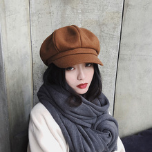 Octagonal Hat Beret Autumn Winter Fashion Women Wool Solid for Korean French-Style Retro