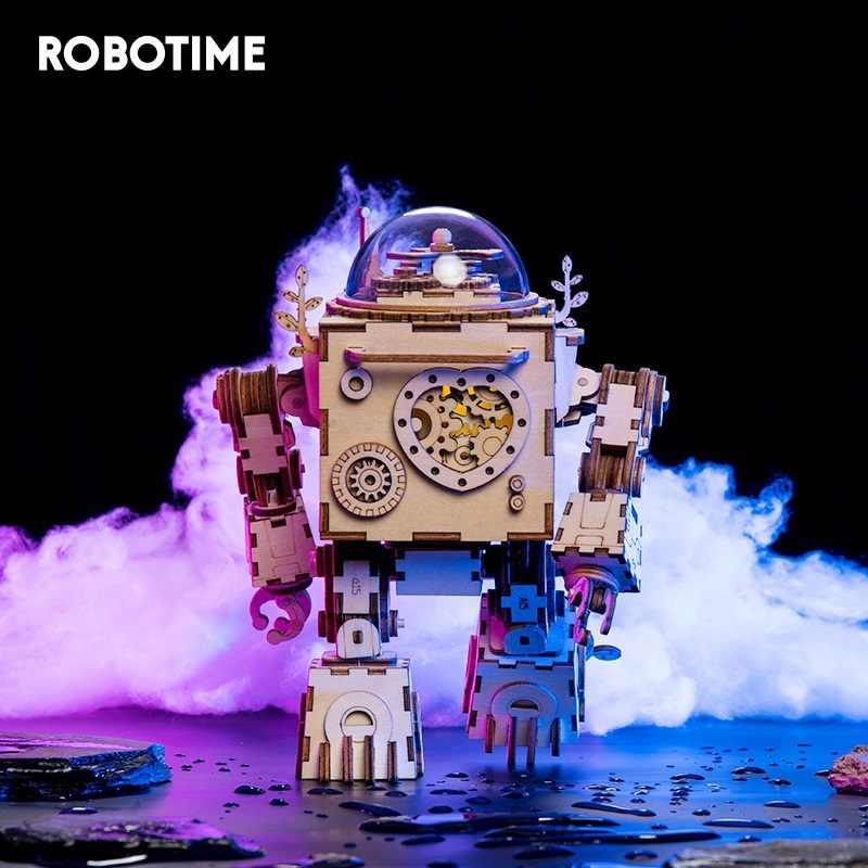 Robotime 5 พัดลมหมุนได้ไม้ DIY Steampunk ชุดอาคารชุดประกอบของเล่นของขวัญเด็กผู้ใหญ่ AM601