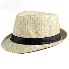 HT3067 Fedoras Men Women Breathable Straw Hat Black Band Cowboy Trilby Jazz Panama Male Short Brim Beach Cap Summer Sun