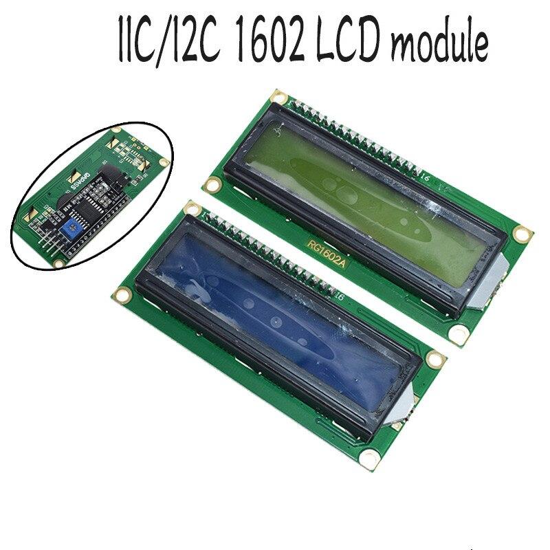 1 pces módulo lcd tela azul iic/i2c 1602 para arduino 1602 lcd uno r3 mega2560 tela verde