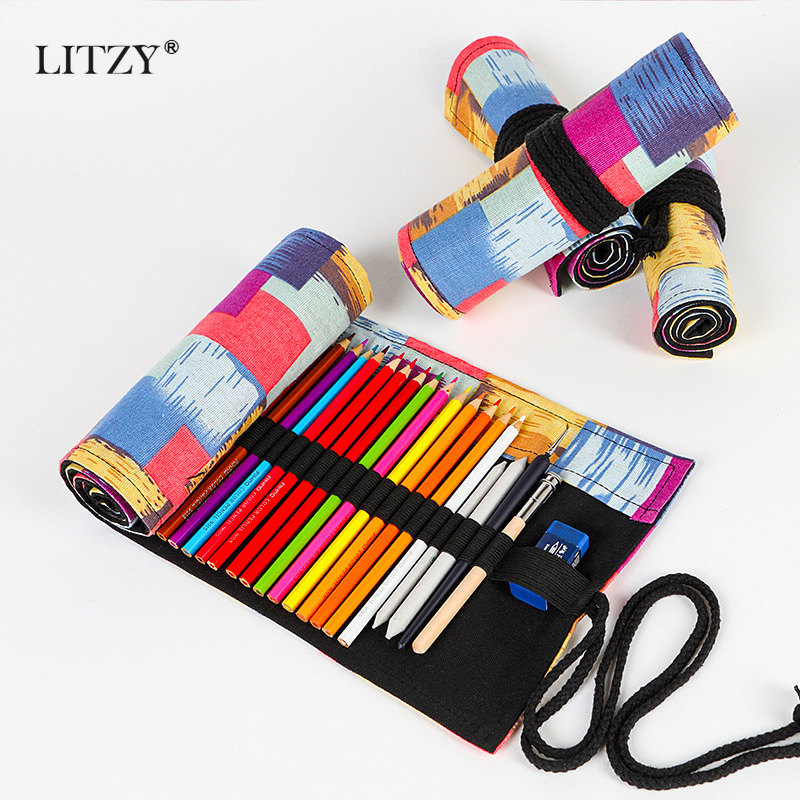 12/24/36 Roll School Pencil Case Kawaii Canvas Pen Bag Penal For Girls&Boys Cute Large Pencilcase Penalties Box Stationery